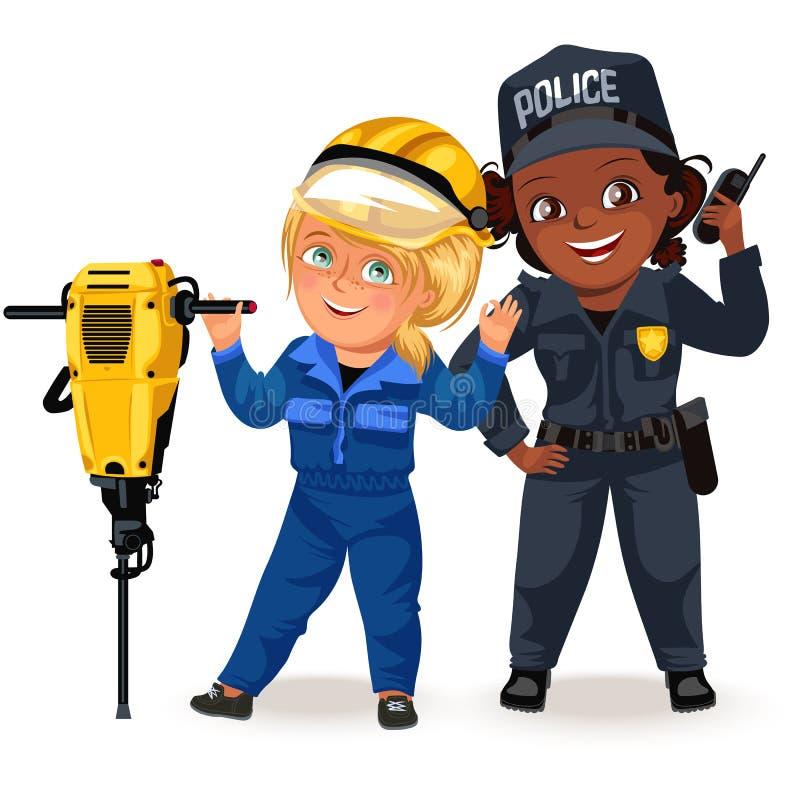 Professions non femelles, uniforme fort de policier de femme avec le poste radio de participation, fille secutiry de sécurité, fé illustration stock