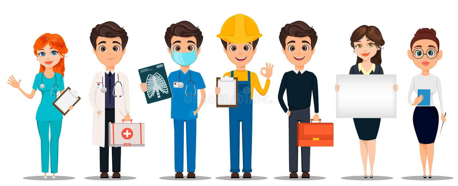 Professions. Set of cartoon characters. Doctors, builder, business man, business woman and teacher. Vector illustration vector illustration