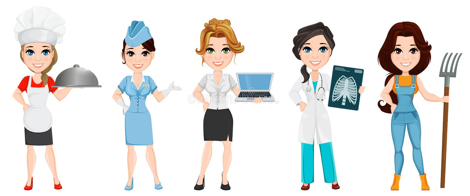 Professions. Set of female cartoon characters. Chef, stewardess, business woman, medical doctor and farmer vector illustration