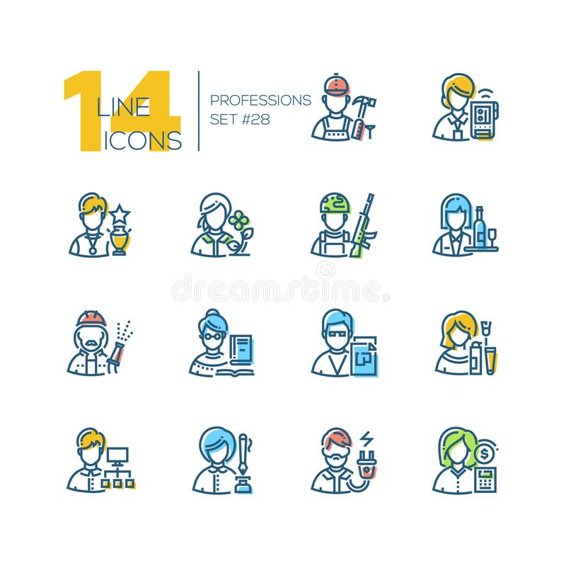 Professions - set of line design style icons. Isolated on white background. Colorful pictograms. Builder, sportsman, gardener, soldier, firefighter, waitress royalty free illustration