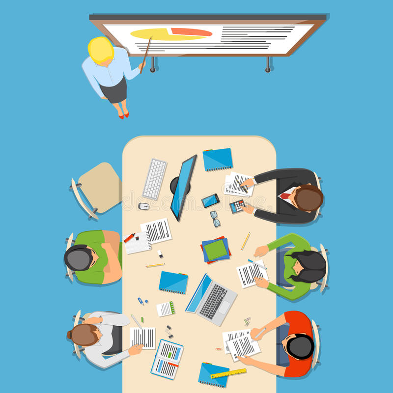 Professions Top View Composition royalty free illustration