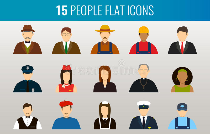 Professions Vector Flat Icons stock illustration
