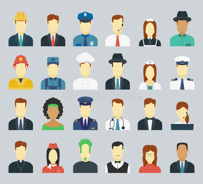 Professions Vector Flat Icons. vector illustration