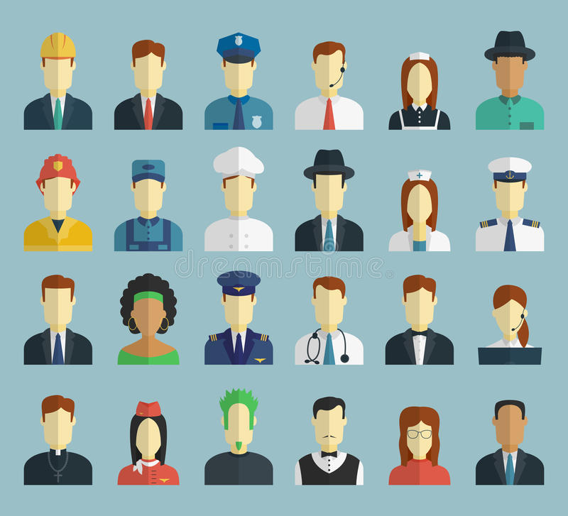 Professions Vector Flat Icons. royalty free illustration