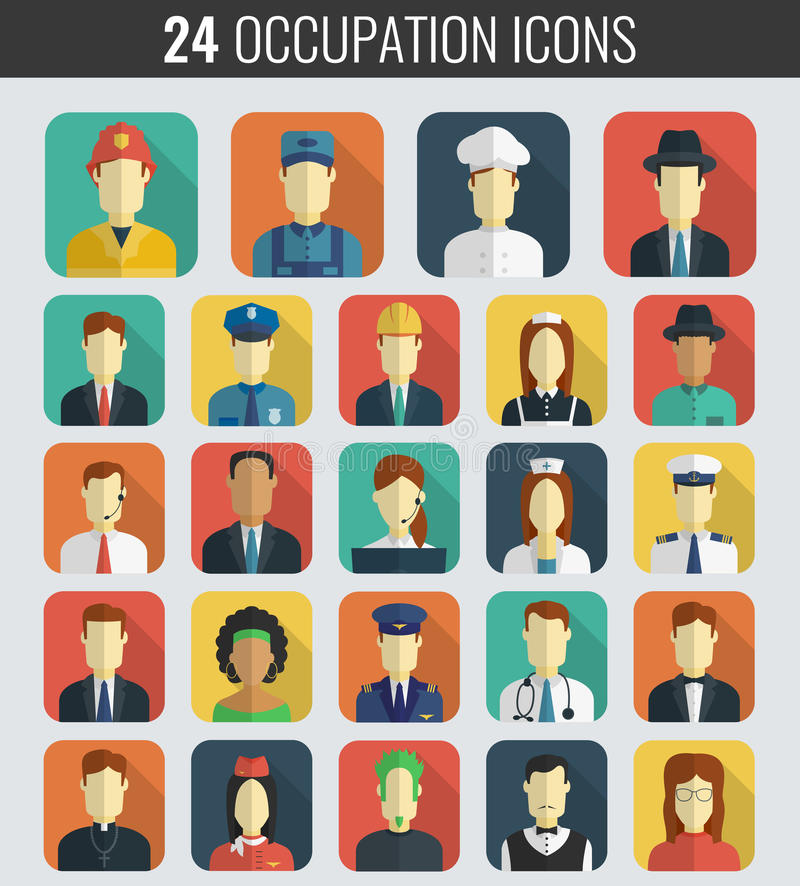 Professions Vector Flat Icons. stock illustration