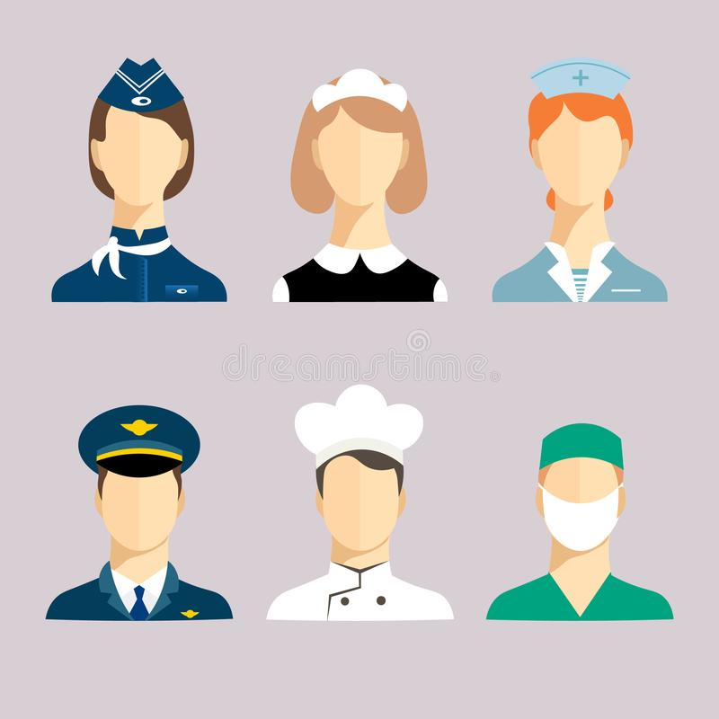Professions for women and men royalty free stock image