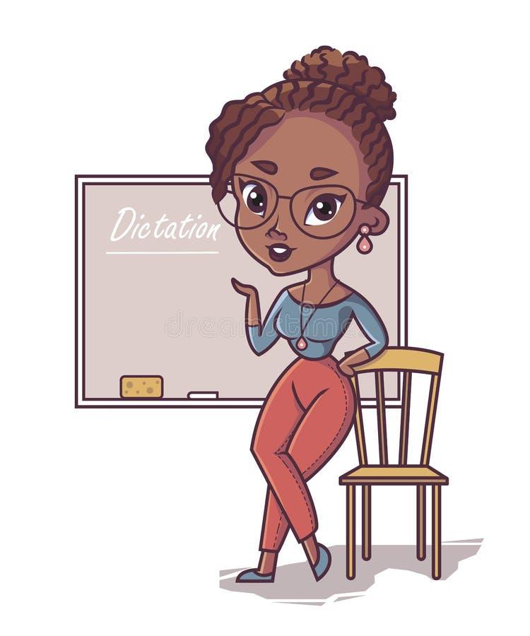 Professor africano, posição preta do professor da jovem mulher ilustração stock