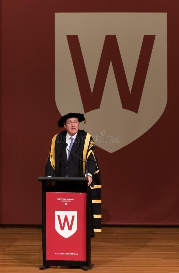 Professor Barney Glover, Kanzler von West-Sydney University stockbild