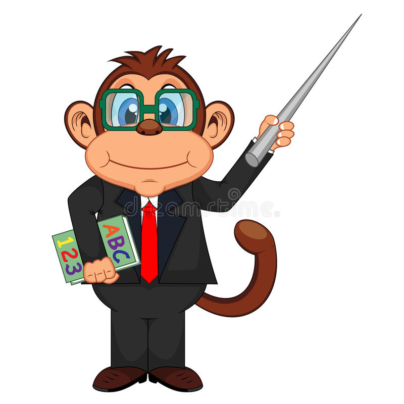 Professor bonito Monkey Cartoon ilustração stock
