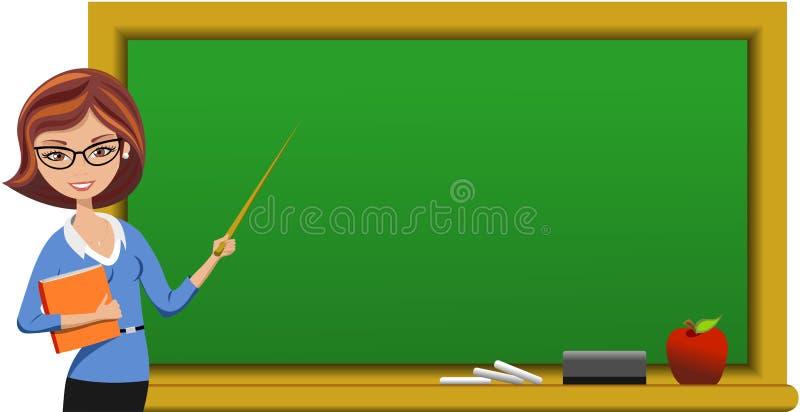 Professor bonito no quadro-negro que mantém o ponteiro ilustração stock