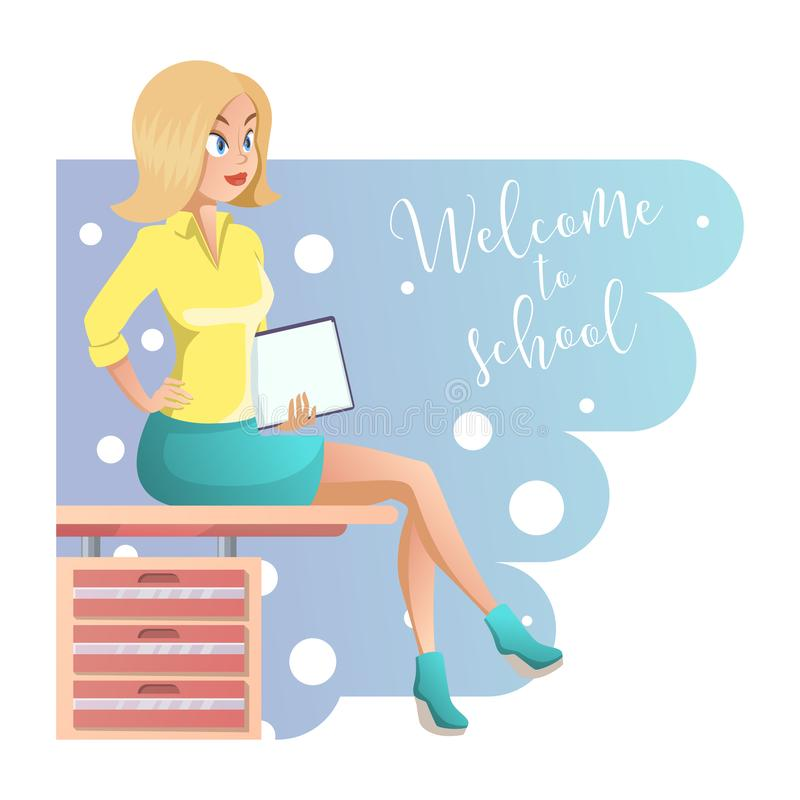Professor bonito novo à moda na roupa elegante do escritório Menina bonito dos desenhos animados com documentos ? disposi??o Ilus ilustração royalty free