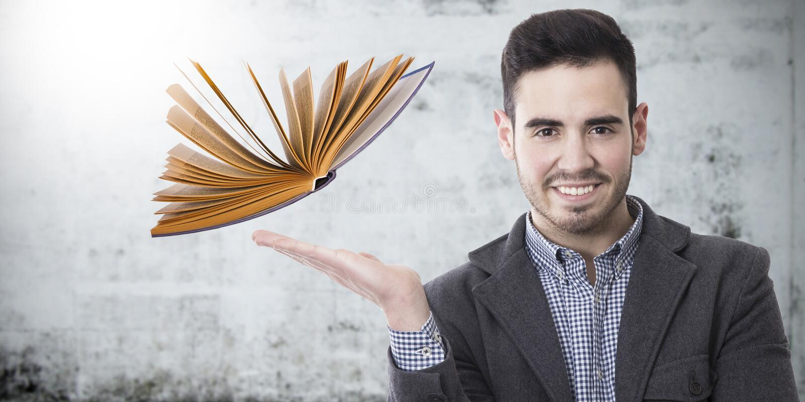 Professor with the book stock images