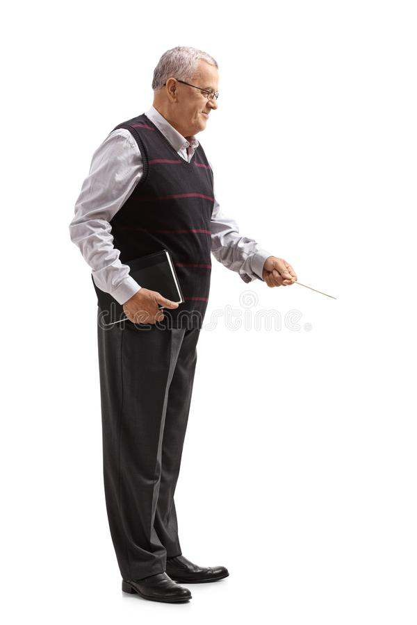 Professor with a book and a wooden stick stock photos