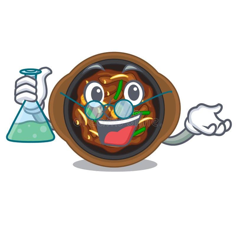 Professor bulgogi in a the bowl cartoon. Vector illustration stock illustration