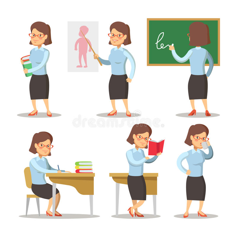 Professor Cartoon Character Set Mulher com o ponteiro atrás do quadro na escola ilustração stock