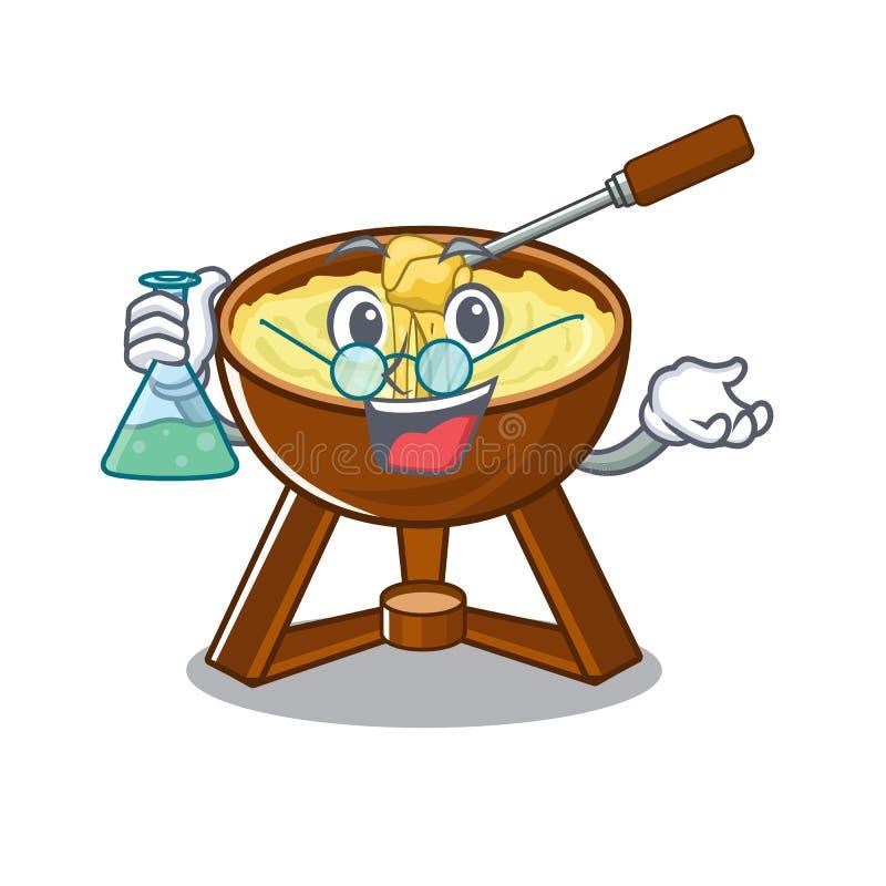 Professor cheese fondue with in mascot shape. Vector illustration stock illustration