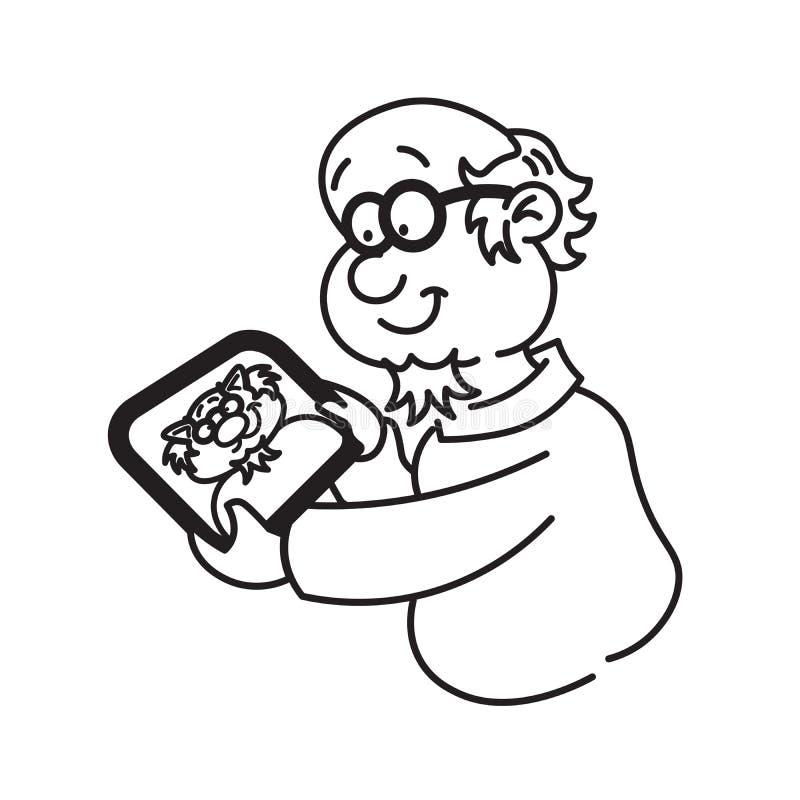 Professor com tabuleta ilustração do vetor