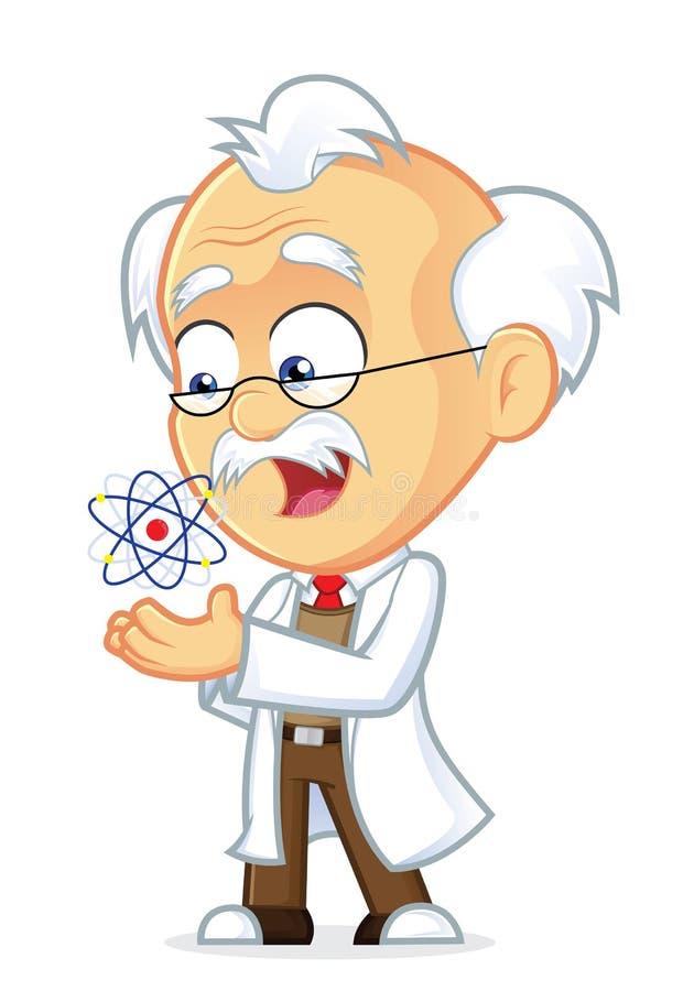 Professor com um átomo ilustração royalty free