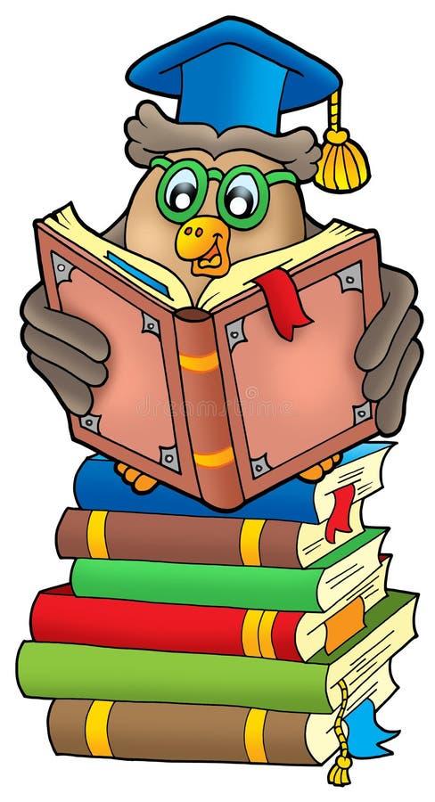 Professor da coruja da leitura em livros ilustração royalty free
