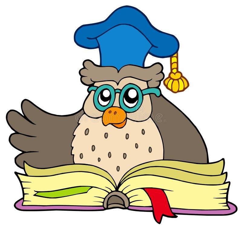 Professor da coruja dos desenhos animados com livro ilustração royalty free