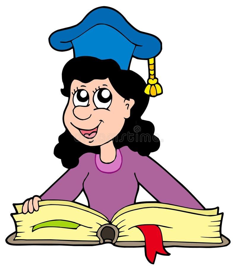 Professor da mulher com livro ilustração stock