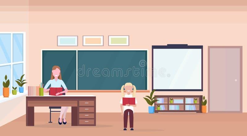 Professor da mulher que senta-se da sala de aula moderna da escola do conceito da educação do livro de leitura da estudante da  ilustração do vetor