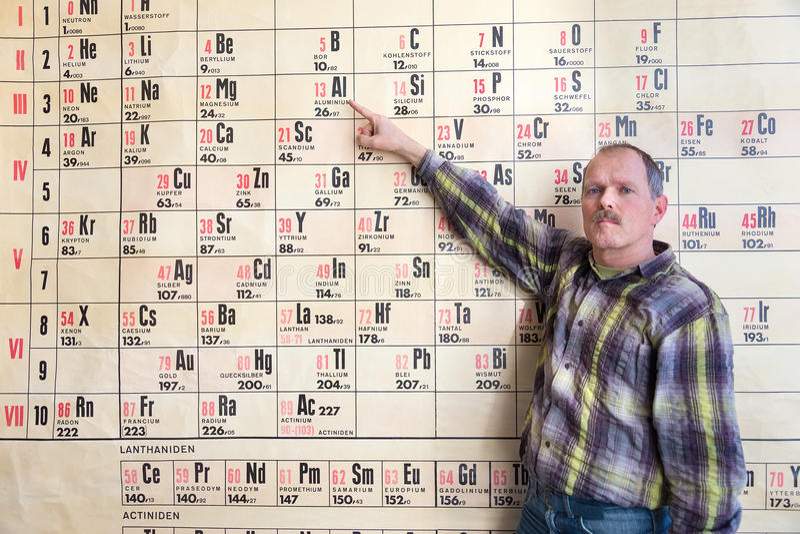 Professor da química que aponta na tabela periódica fotos de stock