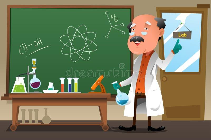 Professor da química que trabalha no laboratório ilustração do vetor