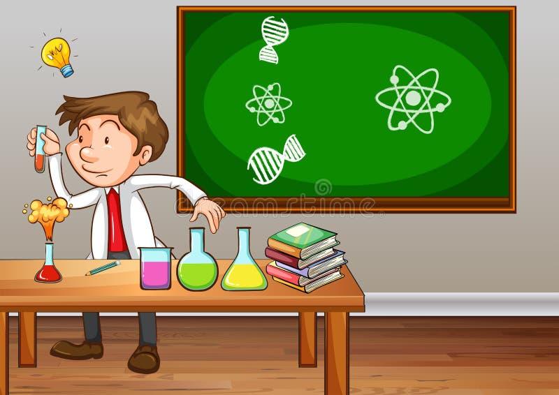 Professor de ciências que experimenta na sala de aula ilustração do vetor