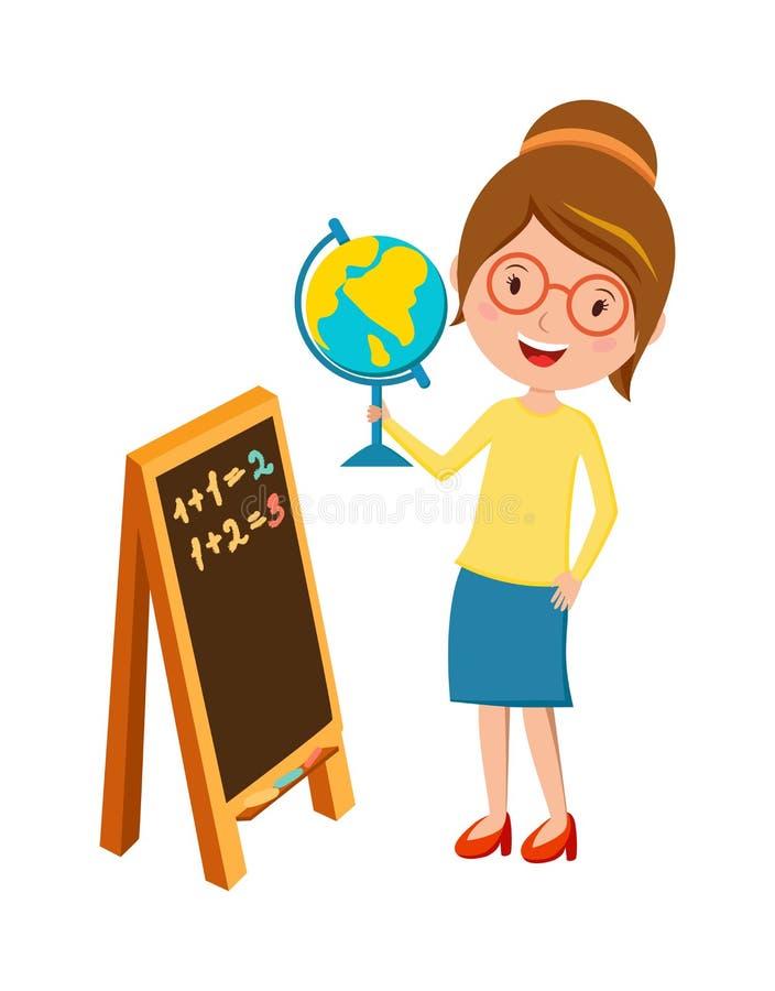 Professor de escola primária feliz com vetor dos desenhos animados da mão e do quadro-negro do globo ilustração stock