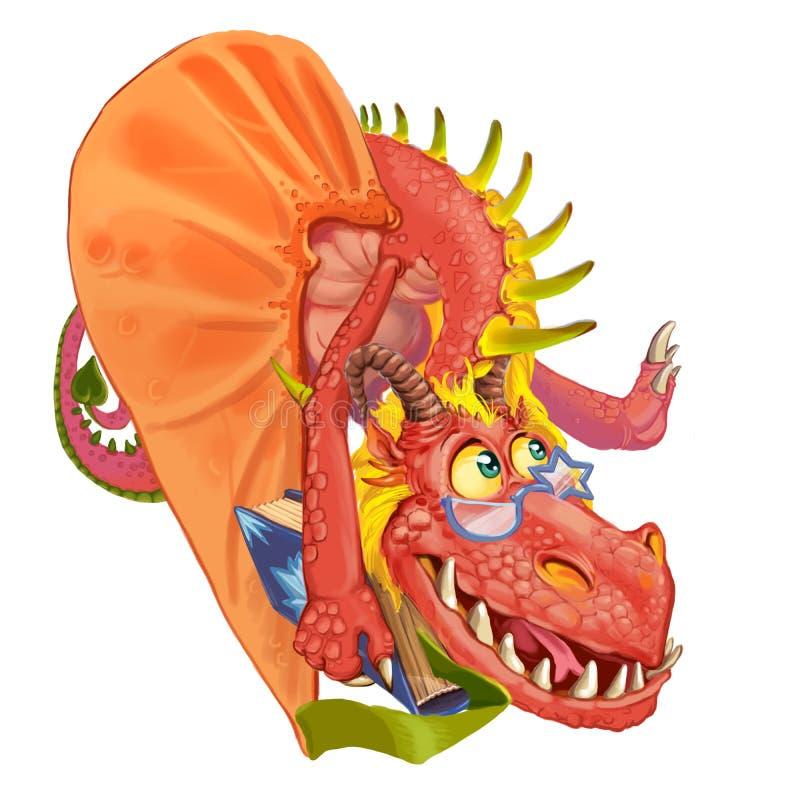 Professor do dragão dos desenhos animados ilustração royalty free
