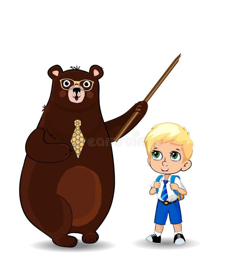 Professor do urso dos desenhos animados e menino de escola que senta-se na pilha isolada, clipart dos livros ilustração do vetor