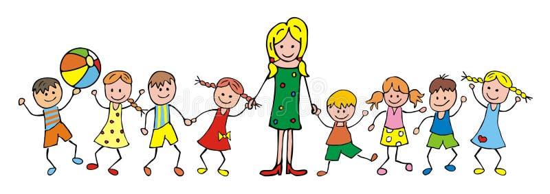 Professor e crianças ilustração royalty free