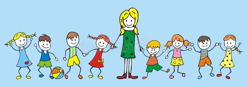 Professor e crianças ilustração stock