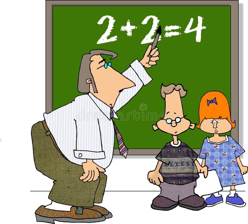 Professor e dois estudantes ilustração royalty free