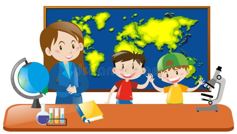 Professor e dois estudantes na classe da geografia ilustração do vetor