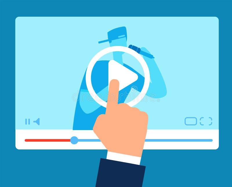 Professor em linha Fluindo a educação tutorial Instruções de Vlogger webinar Conceito video do vetor do negócio do treinamento ilustração do vetor