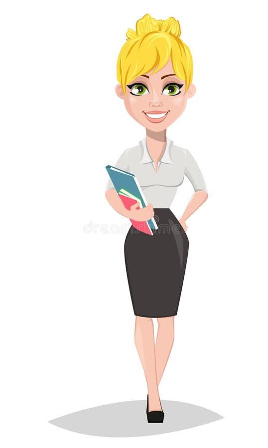 Professor fêmea alegre que está com livros ilustração do vetor