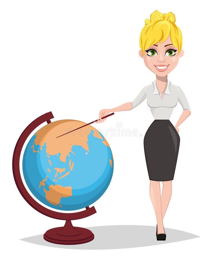 Professor fêmea alegre que está o globo próximo e que mostra nele com um ponteiro ilustração do vetor