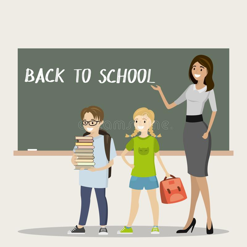 Professor fêmea, estudante e estudante caucasianos na sala de aula ilustração stock