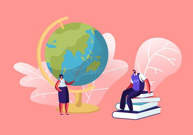 Professor fêmea Stand com o ponteiro no globo na sala de aula Tutor masculino Sitting na pilha dos livros na lição de condução da ilustração do vetor