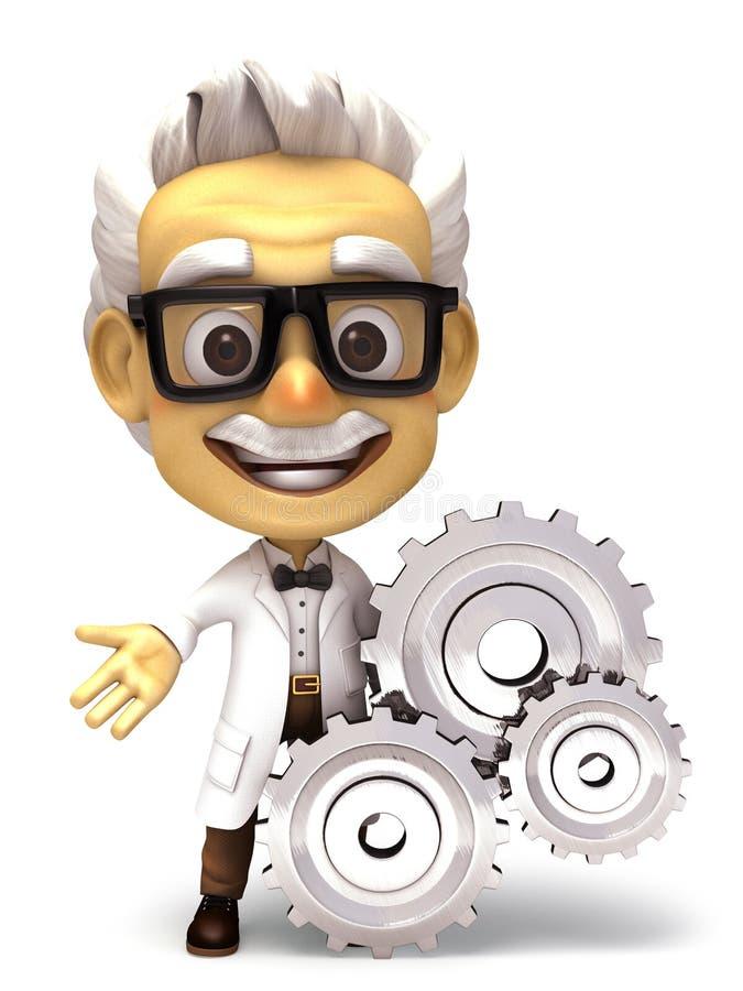 Professor with gear symbol stock illustration