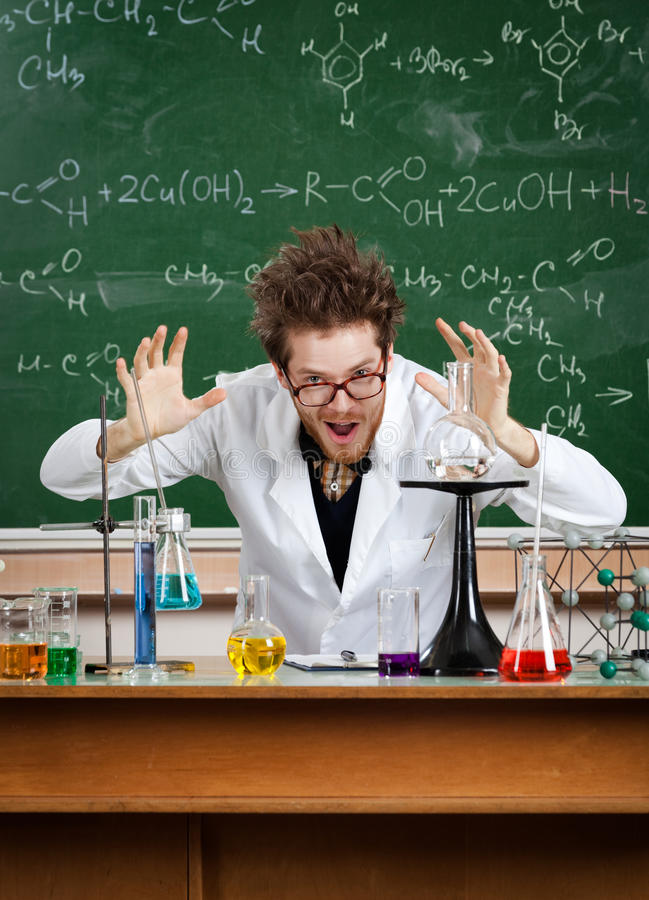 Professor gestures a large amount of something. Mad professor gestures a large amount of something stock images