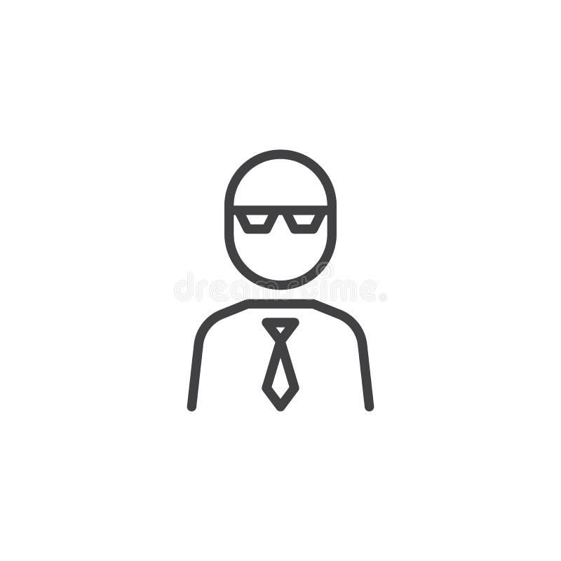 Professor with glasses line icon vector illustration