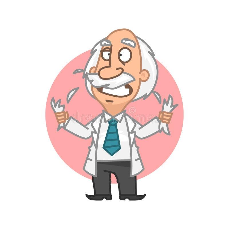 Professor i raserireva på head hår stock illustrationer