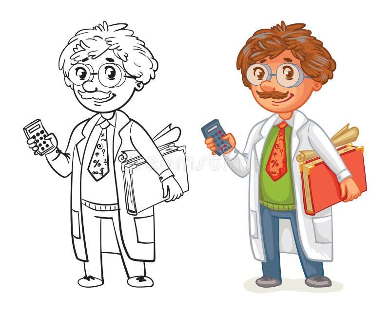 Professor idoso no revestimento do laboratório ilustração royalty free