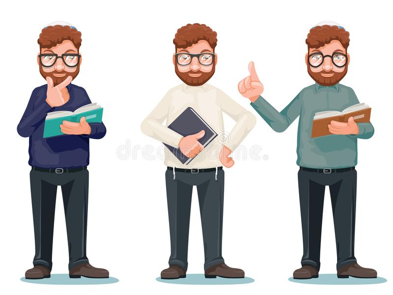 Professor intellectual rationalist education smart read book glasses cartoon characters isolated icons set vector. Professor intellectual rationalist education royalty free illustration