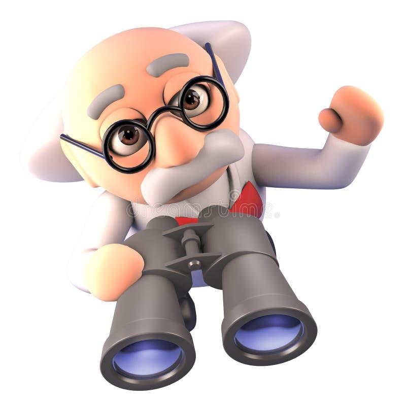 Professor louco do cientista dos desenhos animados que usa um par de binóculos, ilustração 3d ilustração stock