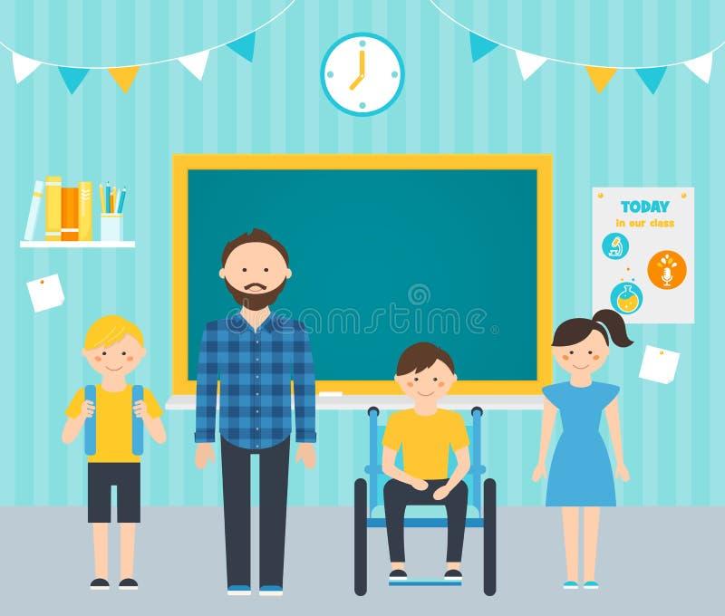 Professor masculino e estudantes novos na sala de aula Incluindo estudantes com conceito especial das necessidades ilustração royalty free