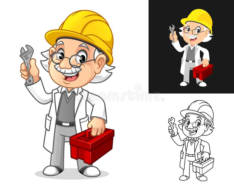 Professor Mechanic with Glasses and Hard Hat Holding Wrench and Toolbox vector illustration